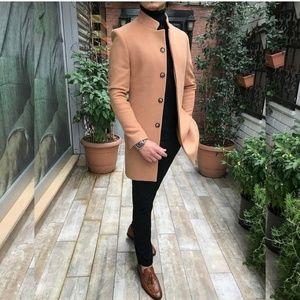 Men's Long Trench Winter Jacket Wool Warm Overcoat